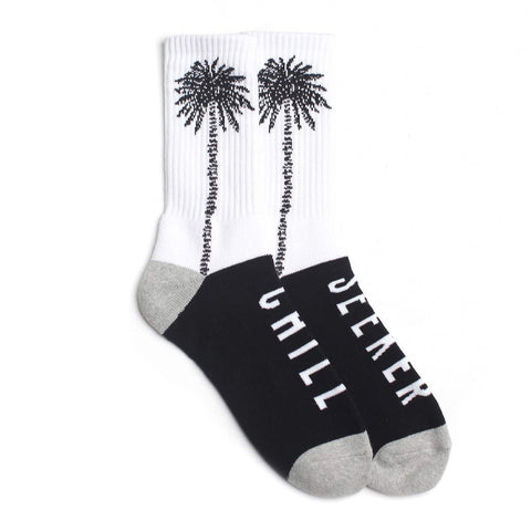 Seeker Palm Socks // White/Black/Grey
