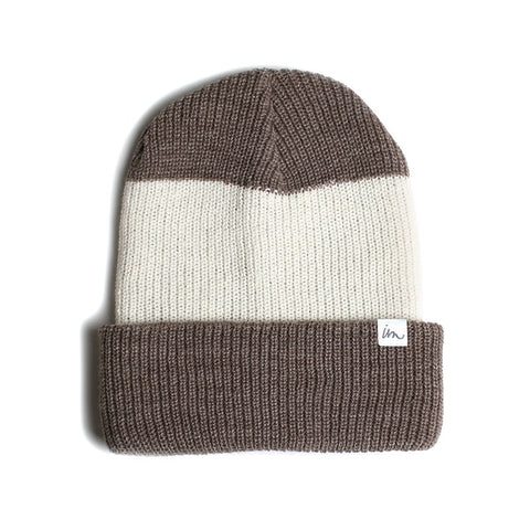 Talon Beanie // Brown White