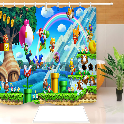 Mario #11 Shower Curtain Waterproof Bath Curtains Bathroom Decor With Hooks