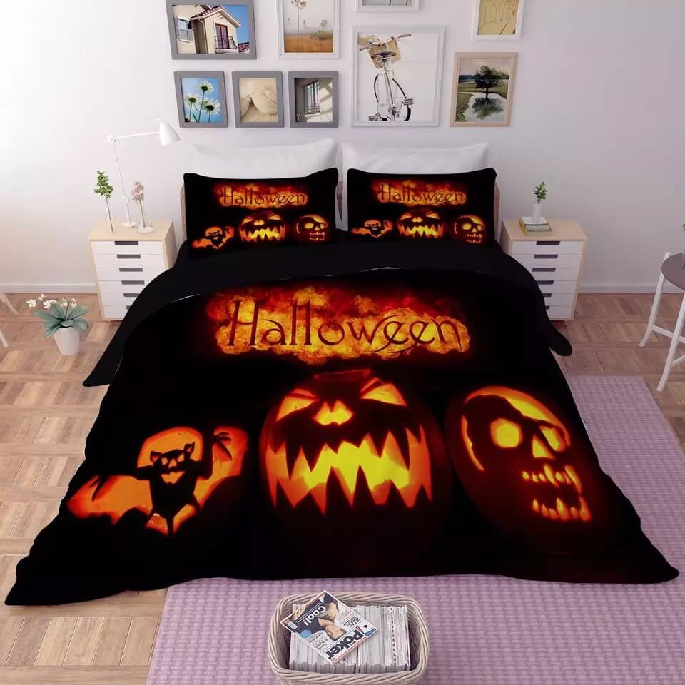 Halloween Horro Pumpkin Ghost #13 Duvet Cover Quilt Cover Pillowcase Bedding Set Bed Linen