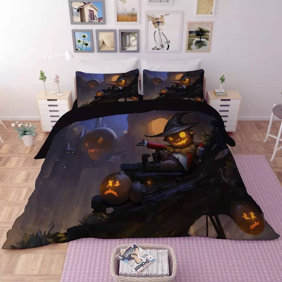 Halloween Horro Pumpkin Ghost #28 Duvet Cover Quilt Cover Pillowcase Bedding Set Bed Linen