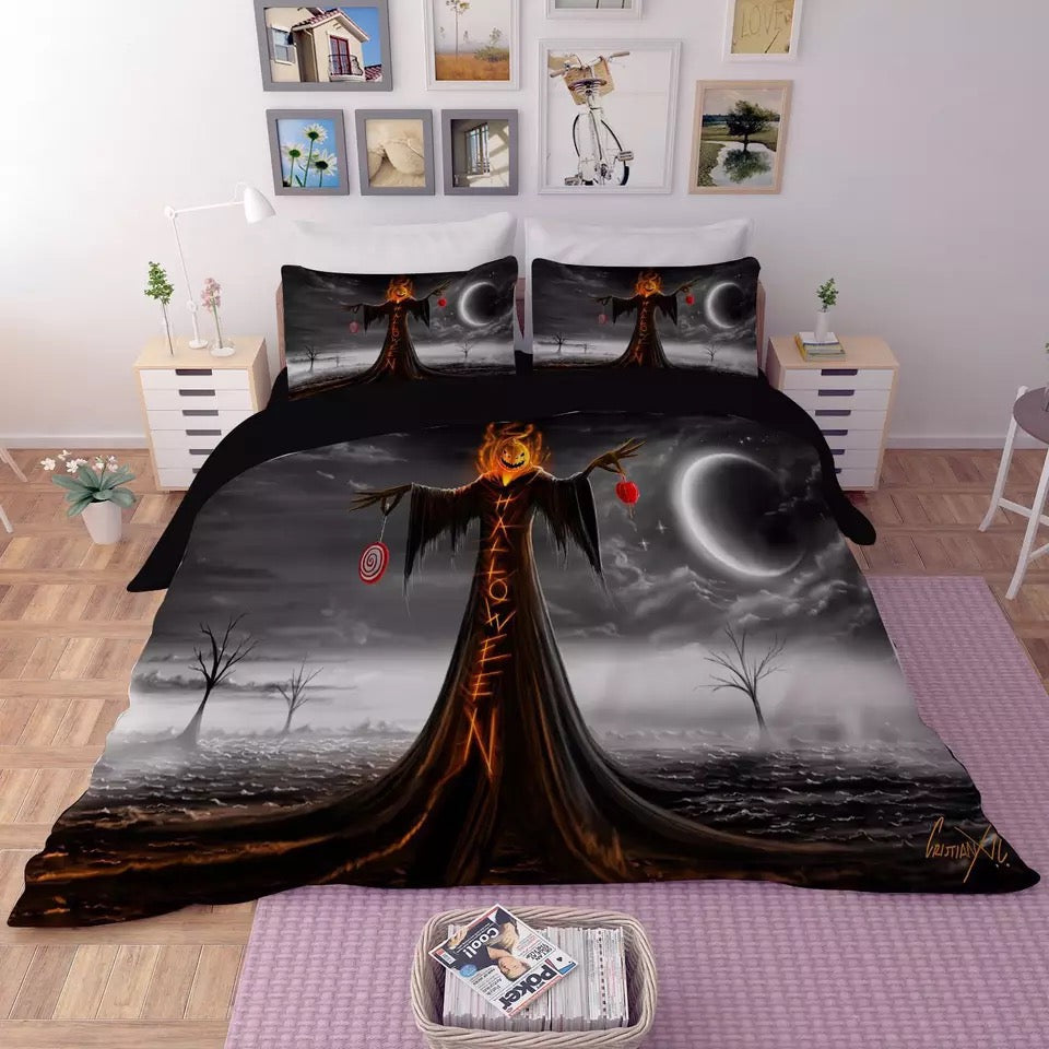 Halloween Horro Pumpkin Ghost #4 Duvet Cover Quilt Cover Pillowcase Bedding Set Bed Linen
