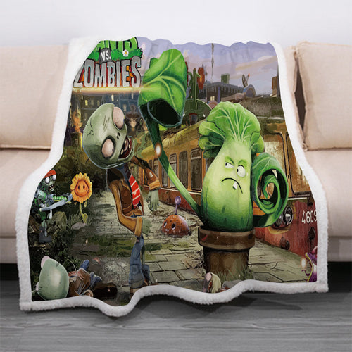 Plants vs Zombies #7 Blanket Super Soft Cozy Sherpa Fleece Throw Blanket for Men Boys