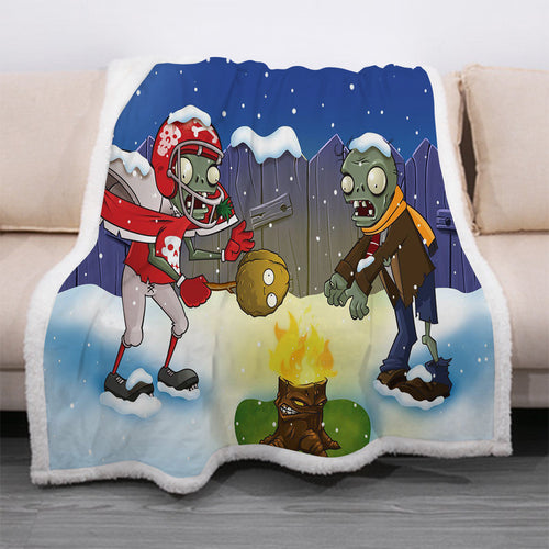 Plants vs Zombies #6 Blanket Super Soft Cozy Sherpa Fleece Throw Blanket for Men Boys