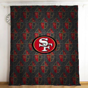 San Francisco 49ers NFL #12 Blackout Curtains For Window Treatment Set For Living Room Bedroom