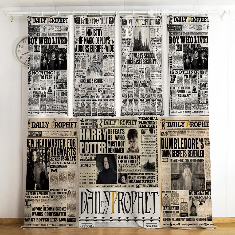 Harry Potter Newspaper Galaxy Logo #12 Blackout Curtains For Window Treatment Set For Living Room Bedroom