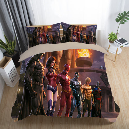 Justice League Wonder Woman Superman Batman The Flash Aquaman #13 Duvet Cover Quilt Cover Pillowcase Bedding Set Bed Linen Home Decor