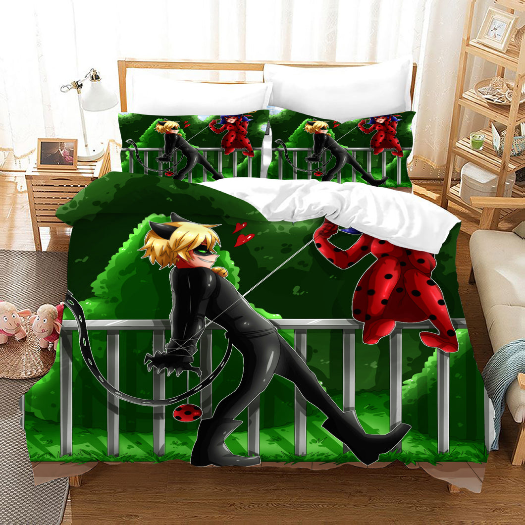 Miraculous Ladybug Cat Noir #23 Duvet Cover Quilt Cover Pillowcase Bedding Set Bed Linen Home Bedroom Decor