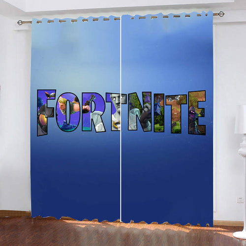 Fortnite Logo #5 Blackout Curtains For Window Treatment Set For Living Room Bedroom