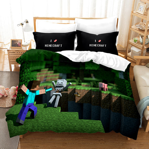 Minecraft #24 Duvet Cover Quilt Cover Pillowcase Bedding Set Bed Linen Home Bedroom Decor