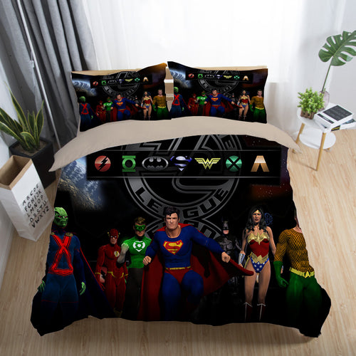Justice League Wonder Woman Superman Batman The Flash Aquaman #15 Duvet Cover Quilt Cover Pillowcase Bedding Set Bed Linen Home Decor