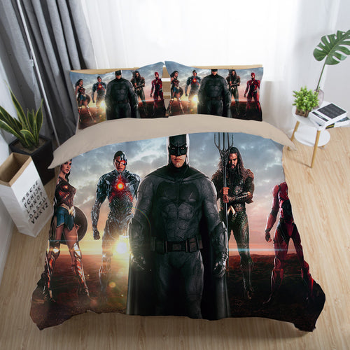 Justice League Wonder Woman Superman Batman The Flash Aquaman #17 Duvet Cover Quilt Cover Pillowcase Bedding Set Bed Linen Home Decor