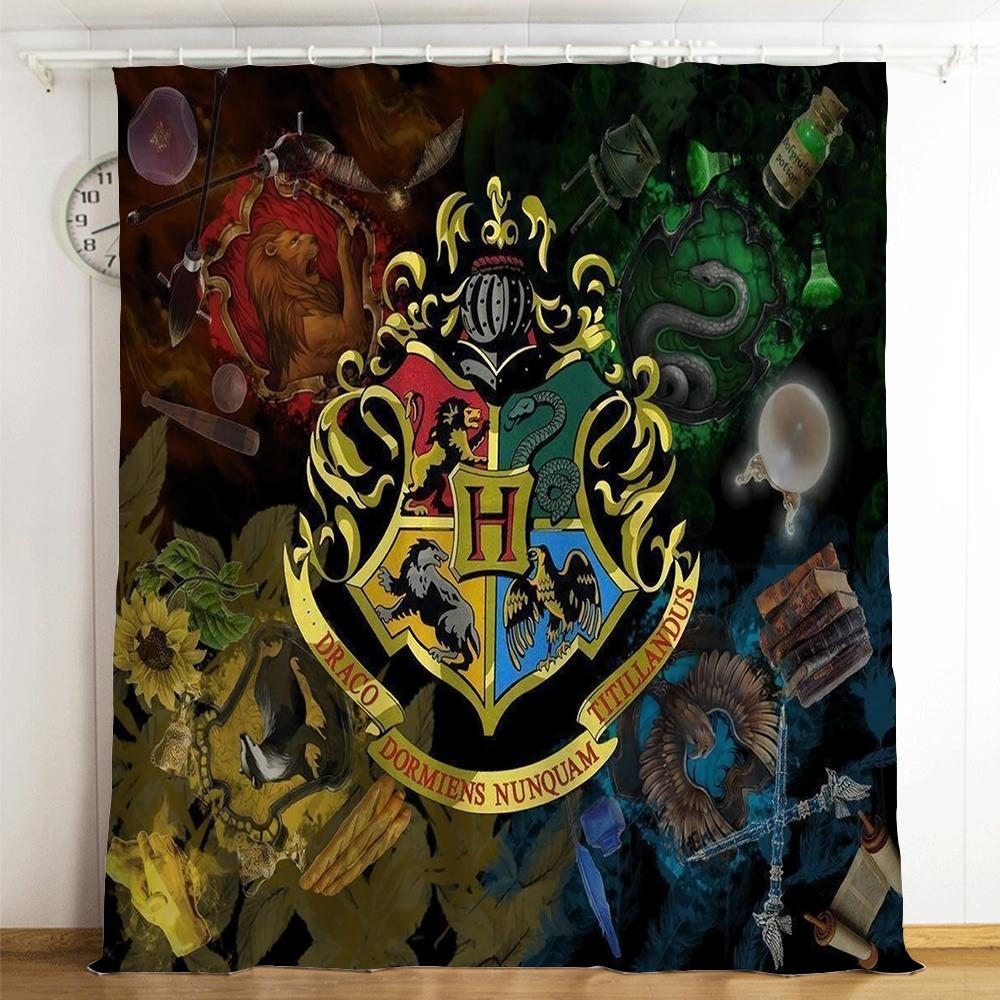 Harry Potter Hogwarts #17 Blackout Curtains For Window Treatment Set For Living Room Bedroom