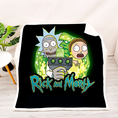 Rick and Morty #18 Blanket Super Soft Cozy Sherpa Fleece Throw Blanket for Men Boys