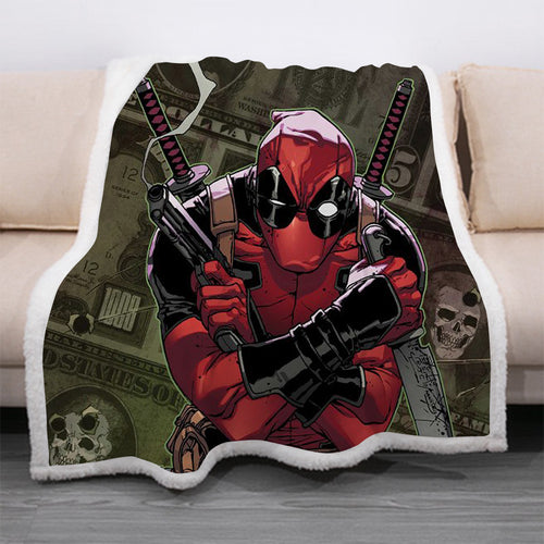Deadpool #18 Blanket Super Soft Cozy Sherpa Fleece Throw Blanket for Men Boys
