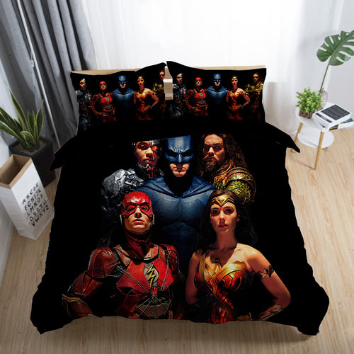 Justice League Wonder Woman Superman Batman The Flash Aquaman #18 Duvet Cover Quilt Cover Pillowcase Bedding Set Bed Linen Home Decor