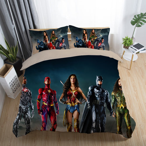 Justice League Wonder Woman Superman Batman The Flash Aquaman #19 Duvet Cover Quilt Cover Pillowcase Bedding Set Bed Linen Home Decor