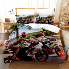 Load image into Gallery viewer, The Motorcycle Girl #19 Duvet Cover Quilt Cover Pillowcase Bedding Set Bed Linen Home Bedroom Decor