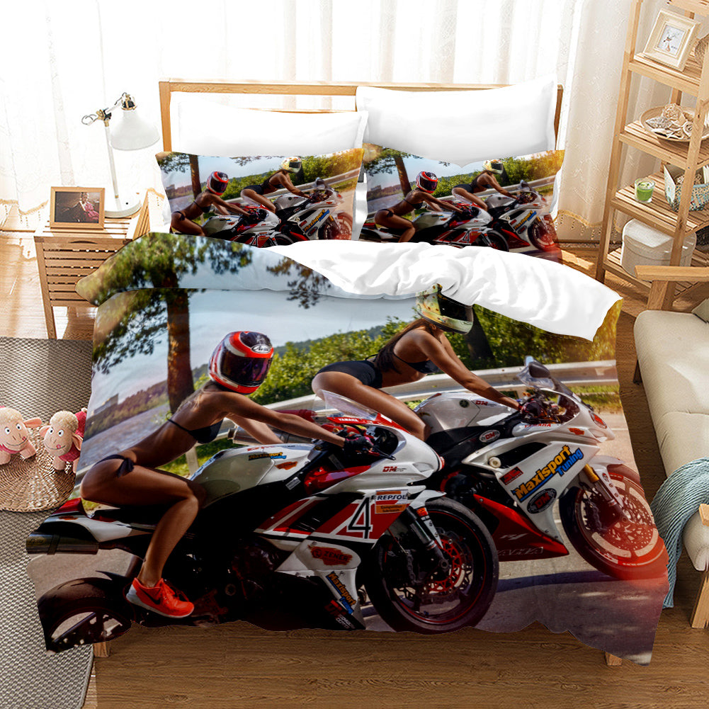 The Motorcycle Girl #19 Duvet Cover Quilt Cover Pillowcase Bedding Set Bed Linen Home Bedroom Decor