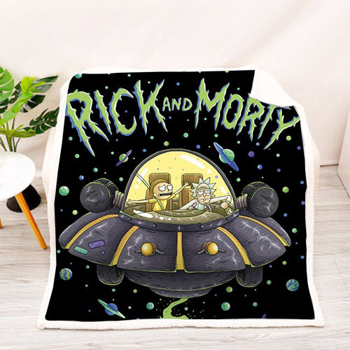 Rick and Morty #19 Blanket Super Soft Cozy Sherpa Fleece Throw Blanket for Men Boys