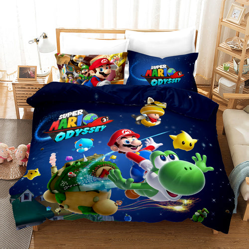 Super Smash Bros. Ultimate Mario #23 Duvet Cover Quilt Cover Pillowcase Bedding Set Bed Linen Home Bedroom Decor