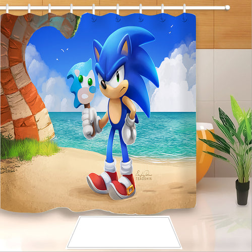 Sonic The Hedgehog #32 Shower Curtain Waterproof Bath Curtains Bathroom Decor With Hooks