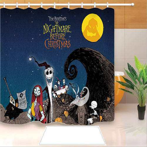 The Nightmare Before Christmas #5 Shower Curtain Waterproof Bath Curtains Bathroom Decor With Hooks