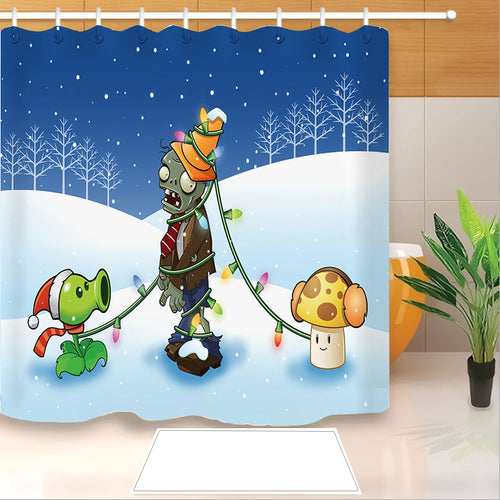 Plants vs Zombies #3 Shower Curtain Waterproof Bath Curtains Bathroom Decor With Hooks