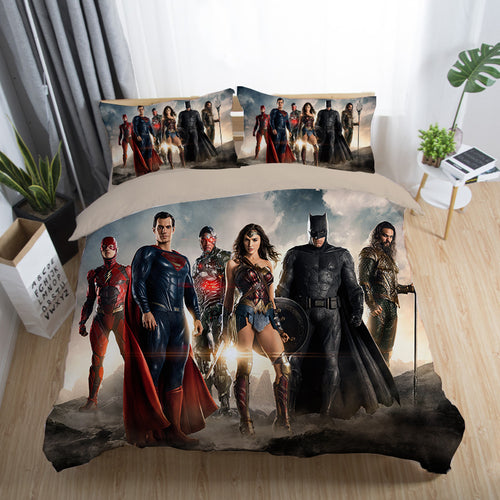 Justice League Wonder Woman Superman Batman The Flash Aquaman #1 Duvet Cover Quilt Cover Pillowcase Bedding Set Bed Linen Home Decor
