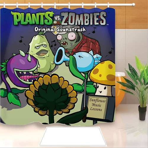 Plants vs Zombies #5 Shower Curtain Waterproof Bath Curtains Bathroom Decor With Hooks
