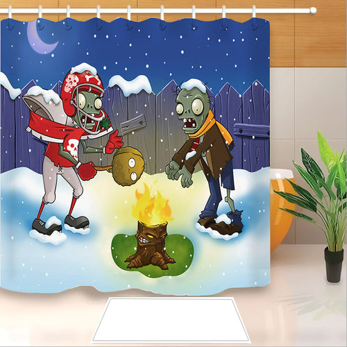 Plants vs Zombies #1 Shower Curtain Waterproof Bath Curtains Bathroom Decor With Hooks