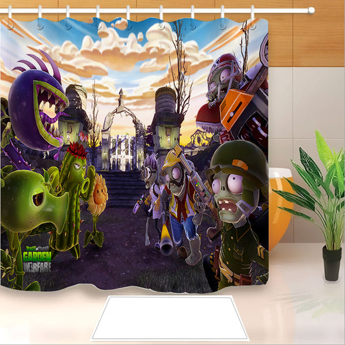 Plants vs Zombies #7 Shower Curtain Waterproof Bath Curtains Bathroom Decor With Hooks