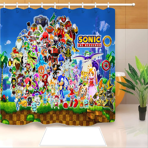 Sonic The Hedgehog #15 Shower Curtain Waterproof Bath Curtains Bathroom Decor With Hooks