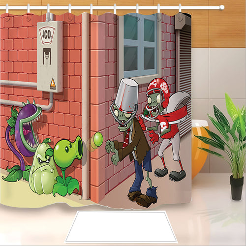 Plants vs Zombies #4 Shower Curtain Waterproof Bath Curtains Bathroom Decor With Hooks