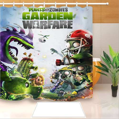 Plants vs Zombies #6 Shower Curtain Waterproof Bath Curtains Bathroom Decor With Hooks