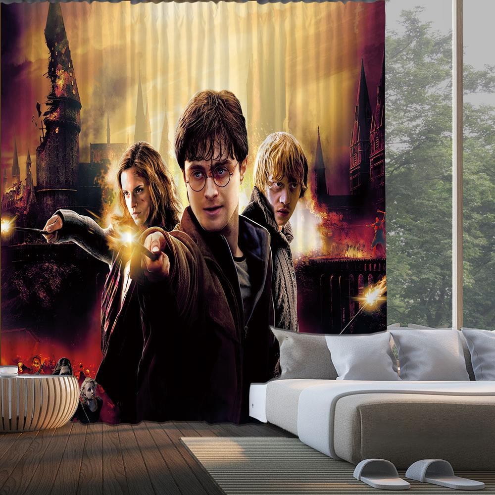 Harry Potter Galaxy Logo #22 Blackout Curtains For Window Treatment Set For Living Room Bedroom
