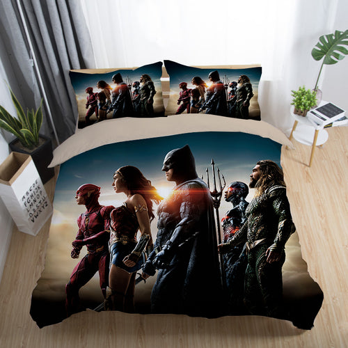 Justice League Wonder Woman Superman Batman The Flash Aquaman #23 Duvet Cover Quilt Cover Pillowcase Bedding Set Bed Linen Home Decor