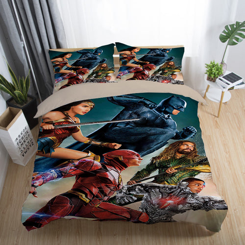 Justice League Wonder Woman Superman Batman The Flash Aquaman #24 Duvet Cover Quilt Cover Pillowcase Bedding Set Bed Linen Home Decor