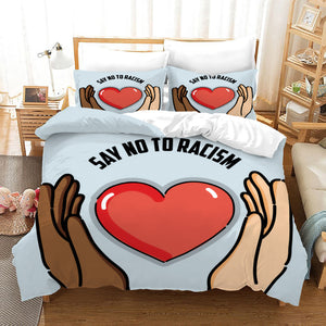 No To Racism #25 Duvet Cover Quilt Cover Pillowcase Bedding Set Bed Linen Home Bedroom Decor