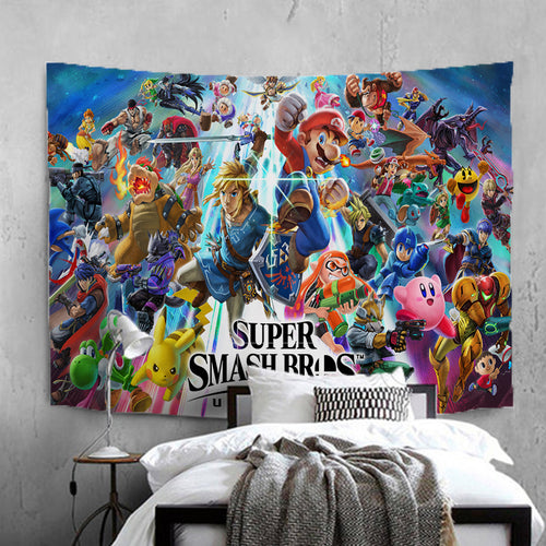 Sonic The Hedgehog Super Smash Bros #26 Wall Decor Hanging Tapestry Home Bedroom Living Room Decoration