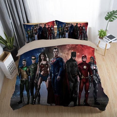 Justice League Wonder Woman Superman Batman The Flash Aquaman #27 Duvet Cover Quilt Cover Pillowcase Bedding Set Bed Linen Home Decor