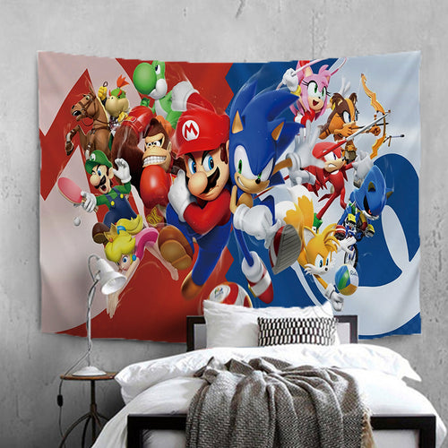 Mario Sonic Olympic Games #28 Wall Decor Hanging Tapestry Home Bedroom Living Room Decoration