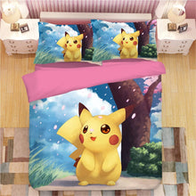 Load image into Gallery viewer, Cartoon Pikachu #2 Duvet Cover Quilt Cover Pillowcase Animation Bedding Set