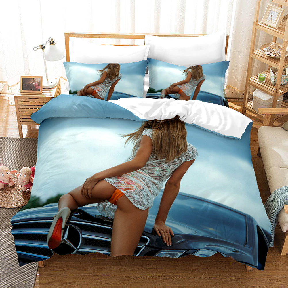 The Motorcycle Girl #2 Duvet Cover Quilt Cover Pillowcase Bedding Set Bed Linen Home Bedroom Decor