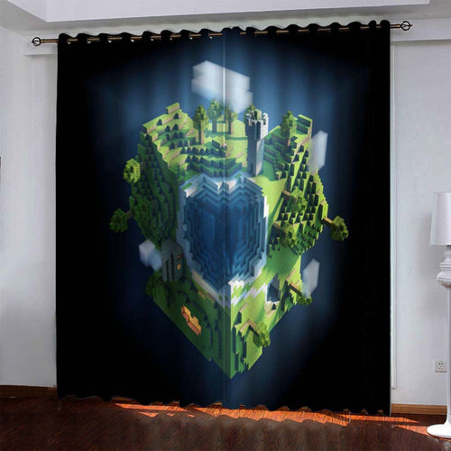 Minecraft #4 Blackout Curtains For Window Treatment Set For Living Room Bedroom