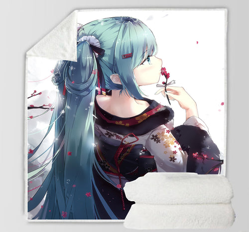Hatsune Miku #12 Blanket Super Soft Cozy Sherpa Fleece Throw Blanket for Men Boys