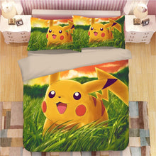 Load image into Gallery viewer, Cartoon Pikachu #3 Duvet Cover Quilt Cover Pillowcase Animation Bedding Set