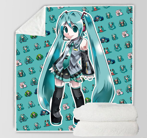 Hatsune Miku #19 Blanket Super Soft Cozy Sherpa Fleece Throw Blanket for Men Boys