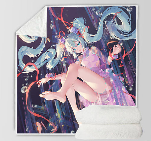 Hatsune Miku #29 Blanket Super Soft Cozy Sherpa Fleece Throw Blanket for Men Boys
