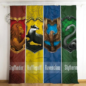 Harry Potter Gryffindor Slytherin Ravenclaw And Hufflepuff #3 Blackout Curtains For Window Treatment Set For Living Room Bedroom